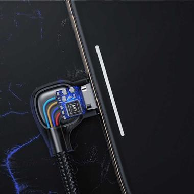 Type C - lightning кабель 150 см под 90 градусов - черный, фото №1