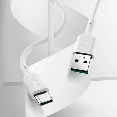 USB A - Type C 5A Fast Charging кабель белого цвета 180 см, фото №1