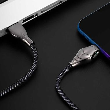 USB A - Micro USB нейлоновый кабель - черный 120 см, фото №5