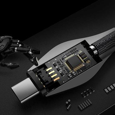 USB A - Type C нейлоновый кабель - черный 120 см, фото №1