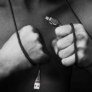 USB A - Type C нейлоновый кабель - черный 120 см, фото №5