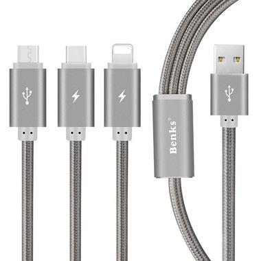 Кабель 3 в 1 Lightning Micro USB Type C Серый, фото №1