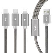 Кабель 3 в 1 Lightning Micro USB Type C Серый - фото 1