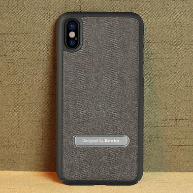 Benks Чехол для iPhone X с подставкой черный Brownie, фото №2