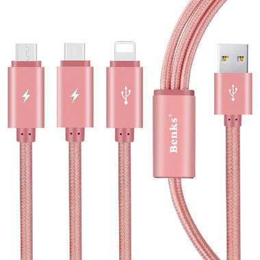 Кабель 3 в 1 Lightning Micro USB Type C Розовый, фото №1