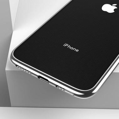 Чехол для iPhone XS Max Electroplating - серебряный, фото №3