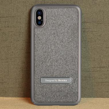 Benks Чехол для iPhone X с подставкой серый Brownie, фото №1