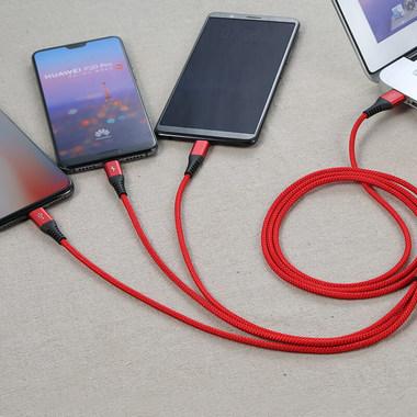 Нейлоновый USB кабель 3 в 1 Micro USB Type C Lightning - Красный, фото №2