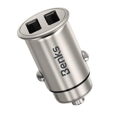 Benks зарядное устройство в прикуриватель на 2 USB A - серое, фото №3