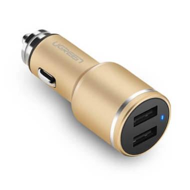 Зарядка для телефона в прикуриватель 24W - золото, фото №1