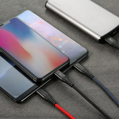 Нейлоновый USB кабель 3 в 1 Micro USB Type C Lightning - Mixed, фото №2