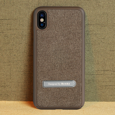 Benks Чехол для iPhone X с подставкой коричневый Brownie, фото №3