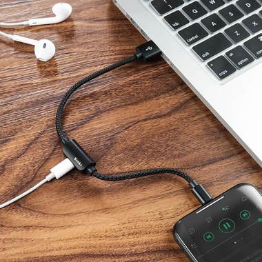 0.25 м - переходник для наушников и зарядки iPhone - черный, фото №2