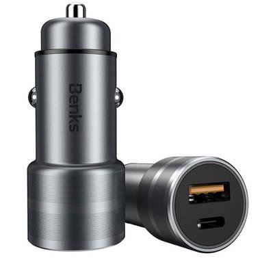 Benks зарядное устройство в прикуриватель на USB A - Type C - серый, фото №2