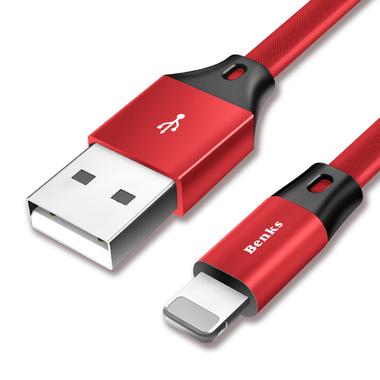 Benks кабель Lightning 1.2 м - красный Prague, фото №3