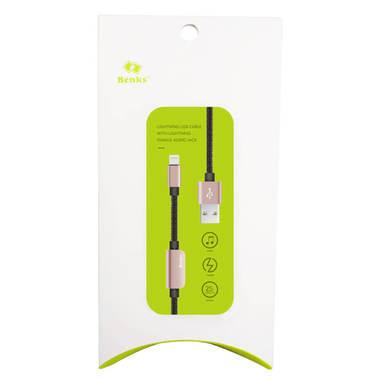 0.25 м - переходник для наушников и зарядки iPhone - розовый, фото №2