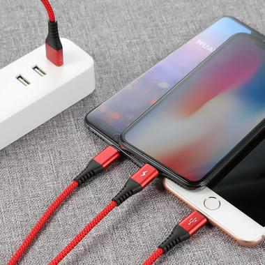 Нейлоновый USB кабель 3 в 1 Type C Lightning Lightning - Красный, фото №2