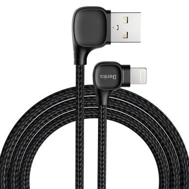 Lightning USB MFI кабель под 90 градусов - черный Elbow, фото №7