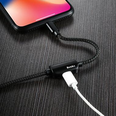 Переходник для наушников и зарядки iPhone - черный 120 см, фото №2