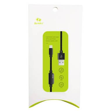 Переходник для наушников и зарядки iPhone - черный 120 см, фото №1