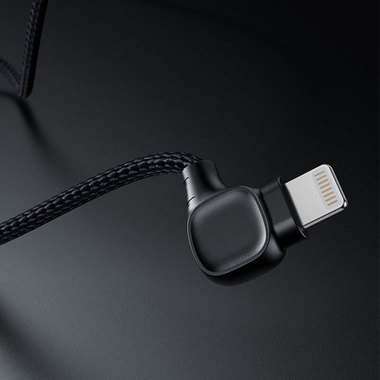 Lightning USB MFI кабель под 90 градусов - черный Elbow, фото №1