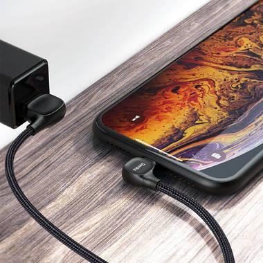 Lightning USB MFI кабель под 90 градусов - черный Elbow, фото №4