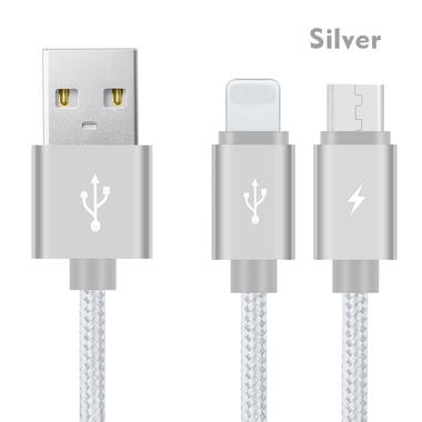 Кабель 2 в 1 Lightning - Micro USB Серый, фото №1