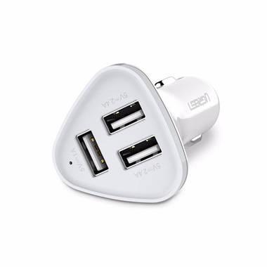 Зарядка для телефона от прикуривателя на 3USB - белая, фото №1