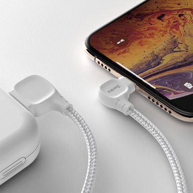Lightning USB MFI кабель под 90 градусов - белый Elbow, фото №1