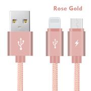 Кабель 2 в 1 Lightning - Micro USB Розовый