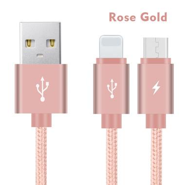 Кабель 2 в 1 Lightning - Micro USB Розовый, фото №1