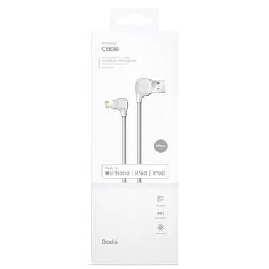 Lightning USB MFI кабель под 90 градусов - белый Elbow, фото №6