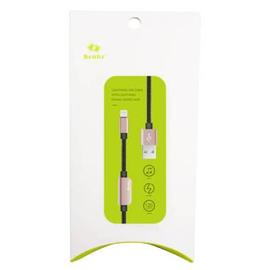 Переходник для наушников и зарядки iPhone - розовый 120 см, фото №2
