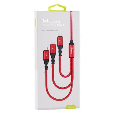 Нейлоновый USB кабель 3 в 1 Micro USB Lightning Lightning - Красный, фото №1