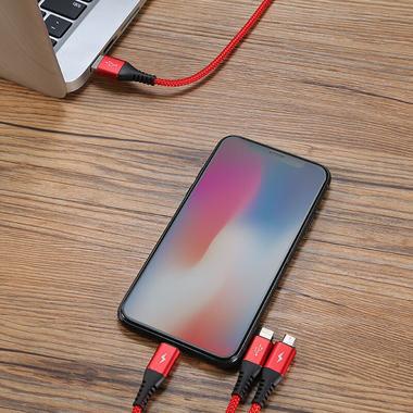 Нейлоновый USB кабель 3 в 1 Micro USB Lightning Lightning - Красный, фото №2