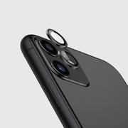 Защитное стекло на камеру iPhone 11, черная мет. рамка KR - 1шт.
