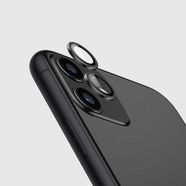 Защитное стекло на камеру iPhone 11, черная мет. рамка KR - 1шт., фото №1