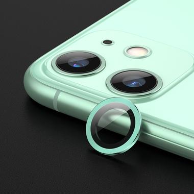 Защитное стекло на камеру iPhone 11, зеленая мет. рамка KR - 1шт., фото №2