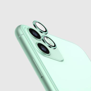 Защитное стекло на камеру iPhone 11, зеленая мет. рамка KR - 1шт., фото №3