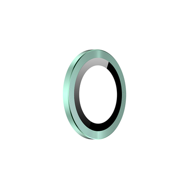 Защитное стекло на камеру iPhone 11, зеленая мет. рамка KR - 1шт., фото №4
