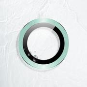 Защитное стекло на камеру iPhone 11, зеленая мет. рамка KR - 1шт.