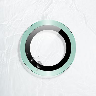 Защитное стекло на камеру iPhone 11, зеленая мет. рамка KR - 1шт., фото №1