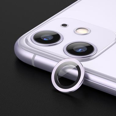 Защитное стекло на камеру iPhone 11, фиолетовая мет. рамка KR - 1шт., фото №5
