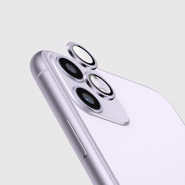 Защитное стекло на камеру iPhone 11, фиолетовая мет. рамка KR - 1шт., фото №6