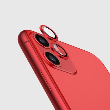 Защитное стекло на камеру iPhone 11, красная мет. рамка KR - 1шт., фото №5