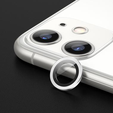 Защитное стекло на камеру iPhone 11, белая мет. рамка KR - 1шт., фото №2