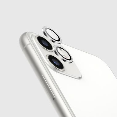 Защитное стекло на камеру iPhone 11, белая мет. рамка KR - 1шт., фото №3