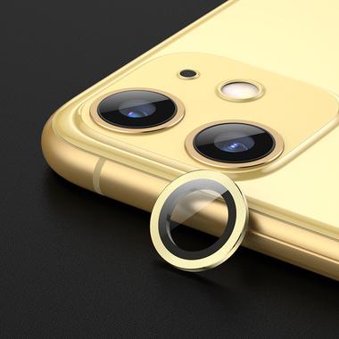 Защитное стекло на камеру iPhone 11, желтая мет. рамка KR - 1шт., фото №1