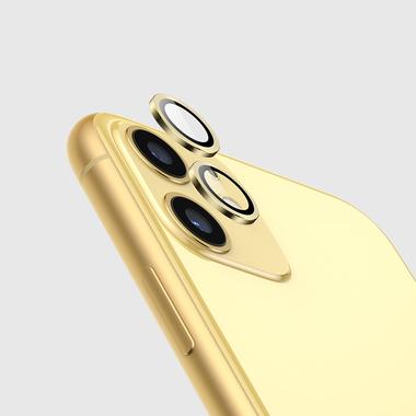 Защитное стекло на камеру iPhone 11, желтая мет. рамка KR - 1шт., фото №5