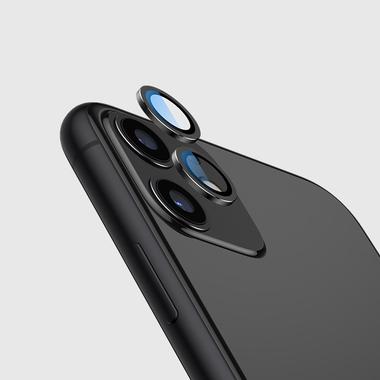 Сапфировое защитное стекло на камеру iPhone 11, черная мет. рамка DR - 1шт., фото №1